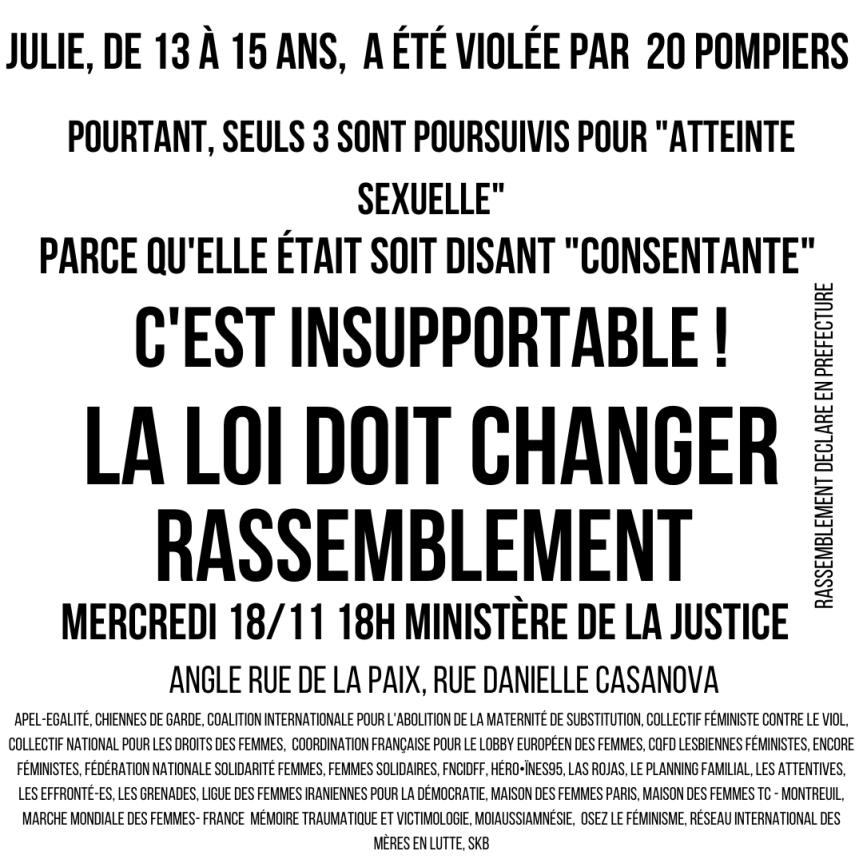 RASSEMBLEMENT – #Justice Pour Julie – La loi doit changer!