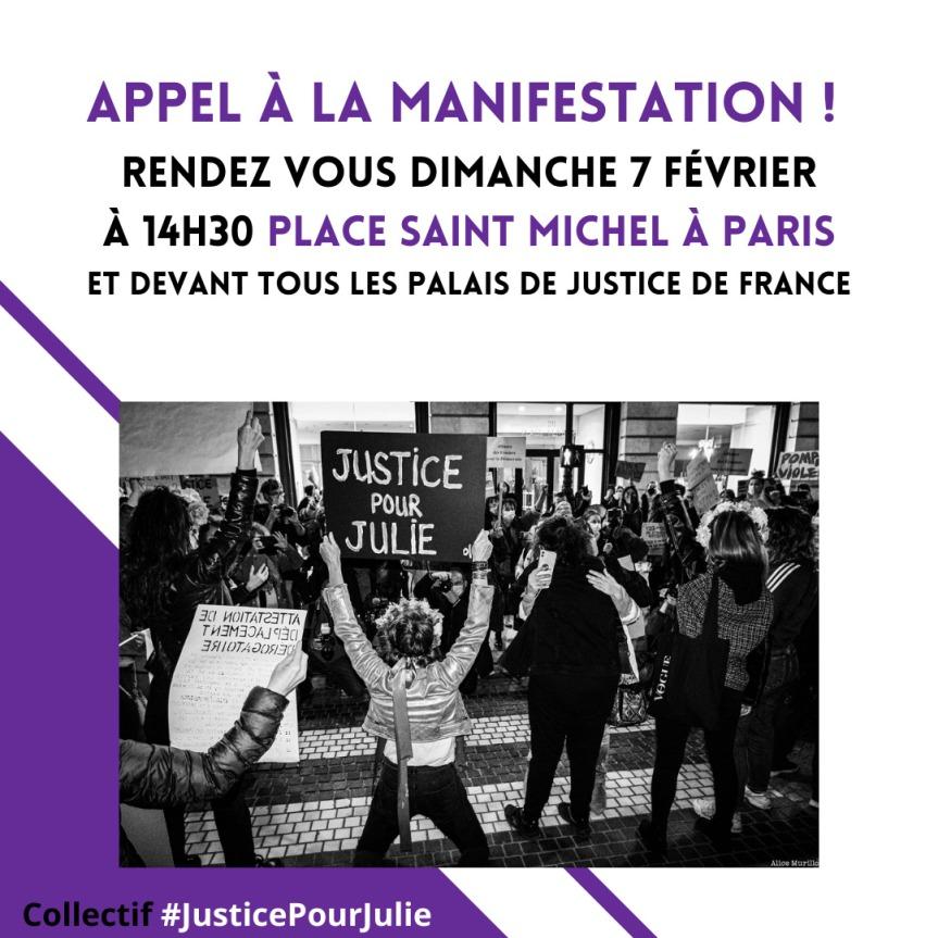 #JusticePourJulie : Mobilisation autour du 10 février!